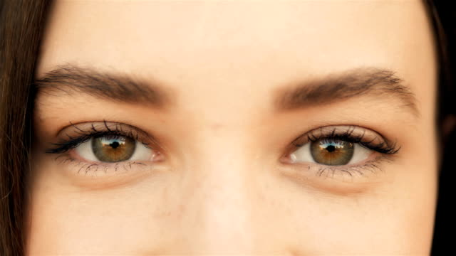 Close Up of a Woman's Face. Beauty shot. Beautiful Eyes Macro Outdoors, Beauty Concept video