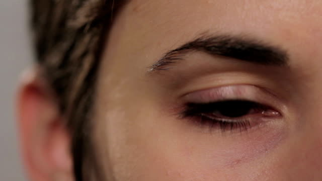 Close up of a young woman's eye video