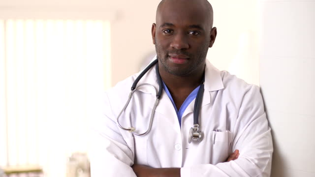 Close up of African American Doctor in clinic video
