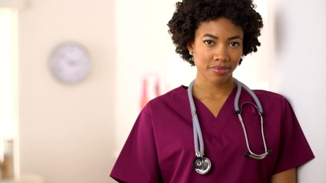 Close up of African American Nurse in clinic video