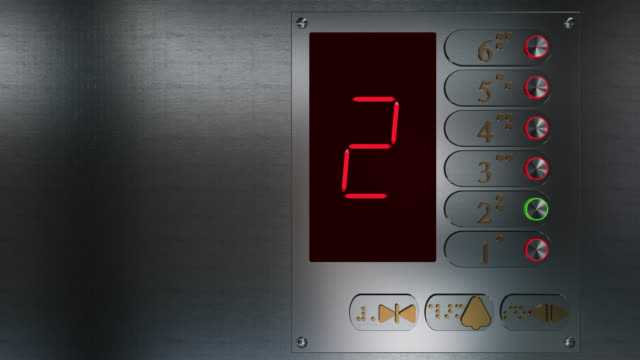 Close up of an elevator control panel going up video