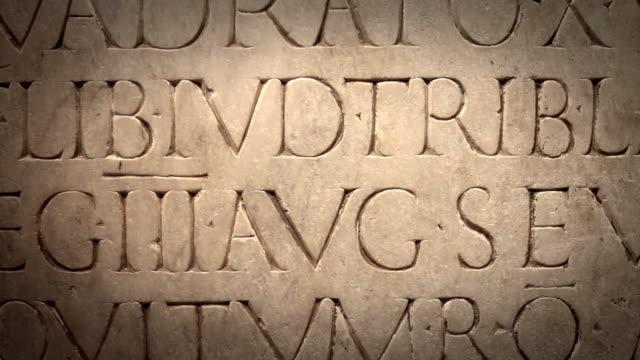 Close Up of Ancient Roman Latin Script video