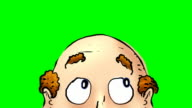 Close up of animated balding head on greenscreen video