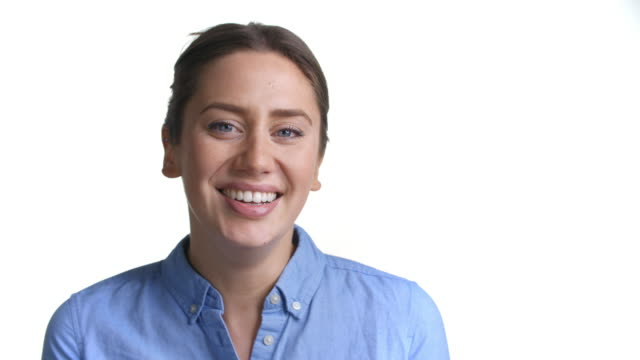 Close Up Of Attractive Young Woman Laughing Into Camera video
