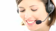 Close up of beautiful woman working in a call center video