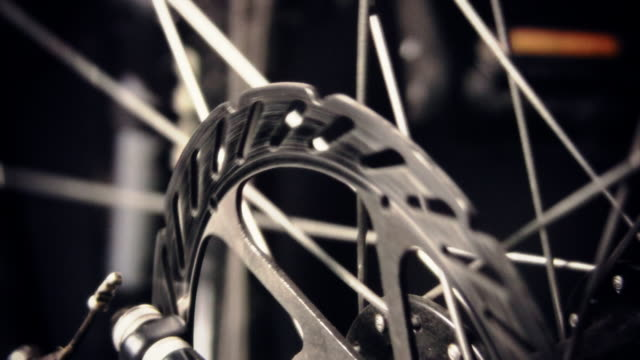 Close up of Bicycle disc Brake and Wheel spokes video