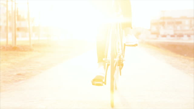 Close up of bicycle in the sunset video