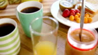 Close up of breakfast ingredients video