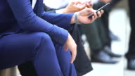 Close up of businessman using smartphone.Business concept. video