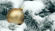 Close up of christmas ball on a fir tree branch video