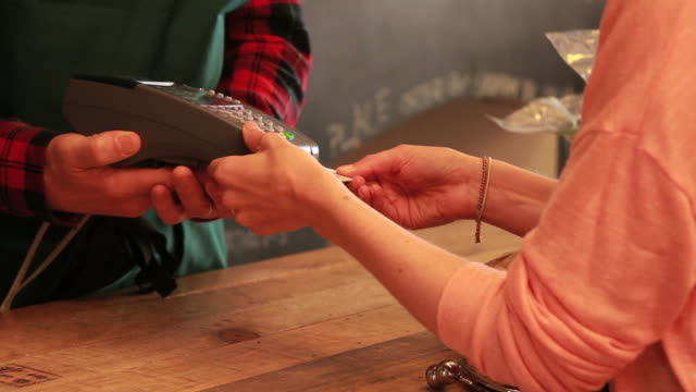 Close up of credit card payment in shop video