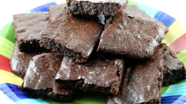 Close up of delicious brownies video