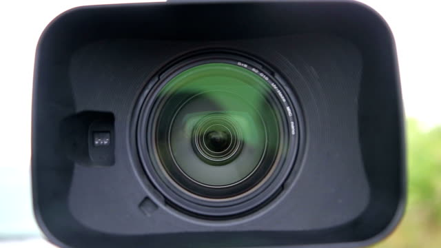 Close up of Digital Video Camera Lens with a Hood video