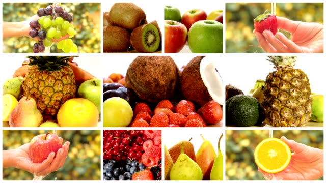 close up of diverse fruits, montage video