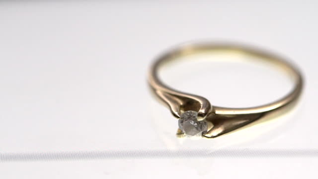 Close up of Engagement Ring on a White Background video