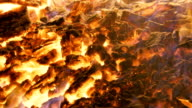 Close up of fire and flames of a bonfire burning in the night video