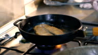 Close up of frying steak video