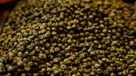 Close up of green pepper spice in a market video