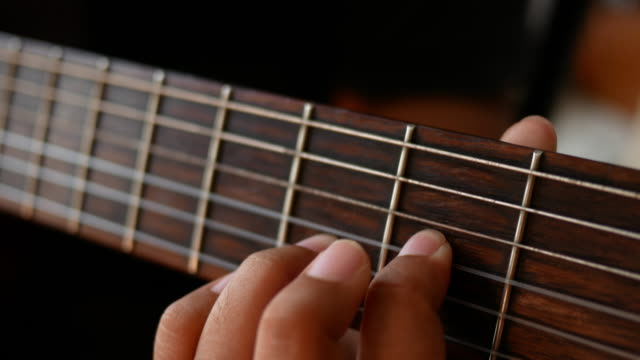 Close up of guitarists hands video