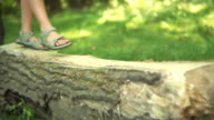 Close up of kids feet walking over log in forest video