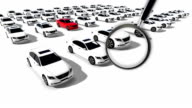 Close up of magnifying glass. Illustration of Hundreds Cars One Red video