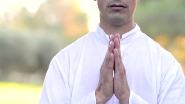 close up of man meditating video
