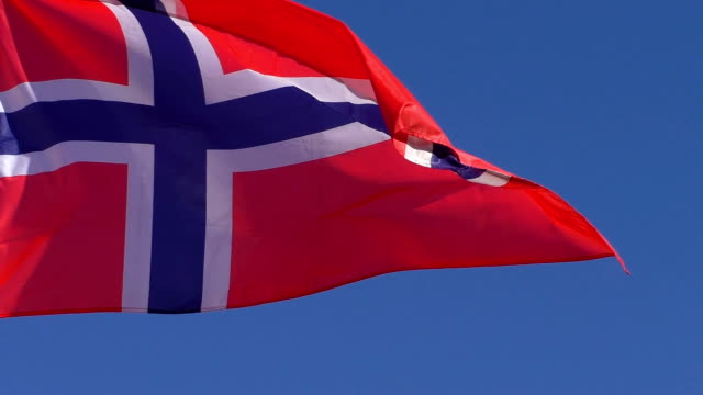 Close up of Norwegian flag video