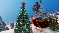 Close up of Santa's sleigh full of gifts and decorated Christmas tree video