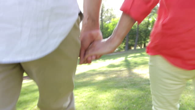 Close Up Of Senior Couple Holding Hands On Walk Together video