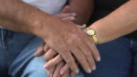 Close up of senior couples hands video