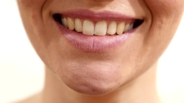 Close Up Of Smiling Female Lips video