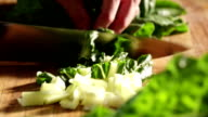 Close up of Spinach being Cut video