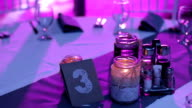 Close up Of Table at wedding reception video