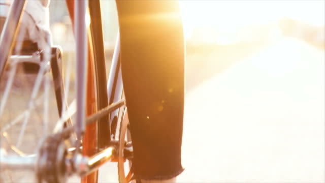 Close up of the bicycle in the sunset video
