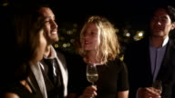Close up of two couples drinking and having a good time while hanging out on the roof at night in San Francisco video