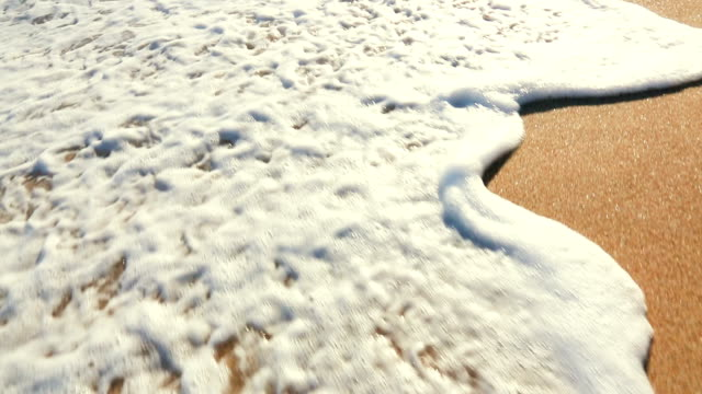 Close Up Of Waves Rolling up White Sandy Beach with Instagram Filter. video