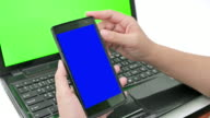 Close up of women using smart phone, Green screen video