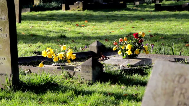 Close Up - Old Grave with fresh flowers - Ancient Rural Church Yard in Beautiful Morning Light video