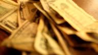 Close up on money rack focus video