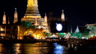 Close up panning: Wat Arun at night video