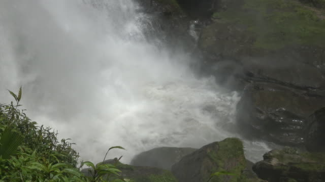Close up parts of  Wachirathan waterfall with water splash. video