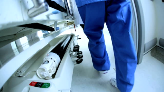 Close Up Patient Ward Transfer Hospital Bed Slow Motion video