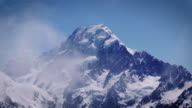 Close up pf Mount Cook above the clouds. Tight shot. video