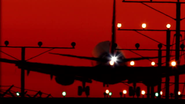 Close Up Plane Landing Silhouette with Audio video