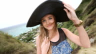 Close up portrait of beautiful young woman with hat at Pillbox Hike, Hawaii video
