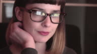 Close up screen watching video