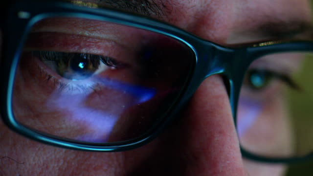 Close up shot of a man wearing glasses video