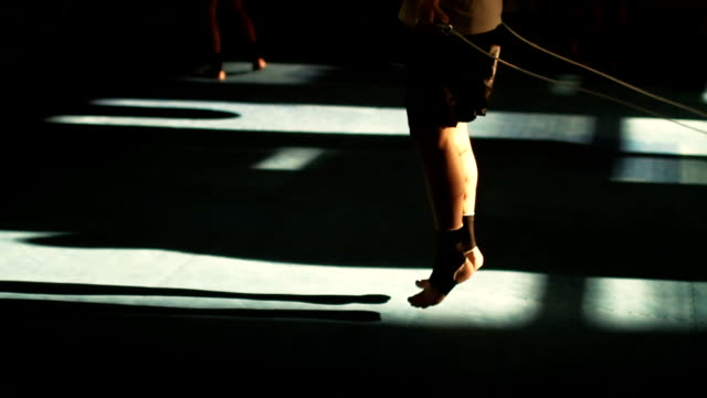Close up Shot of an Athletic Man Jumping Rope in Gym video