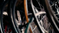 Close up shot of bicycle wheels and spokes video