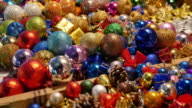 Close up shot of colorful Christmas balls on a Christmas market video